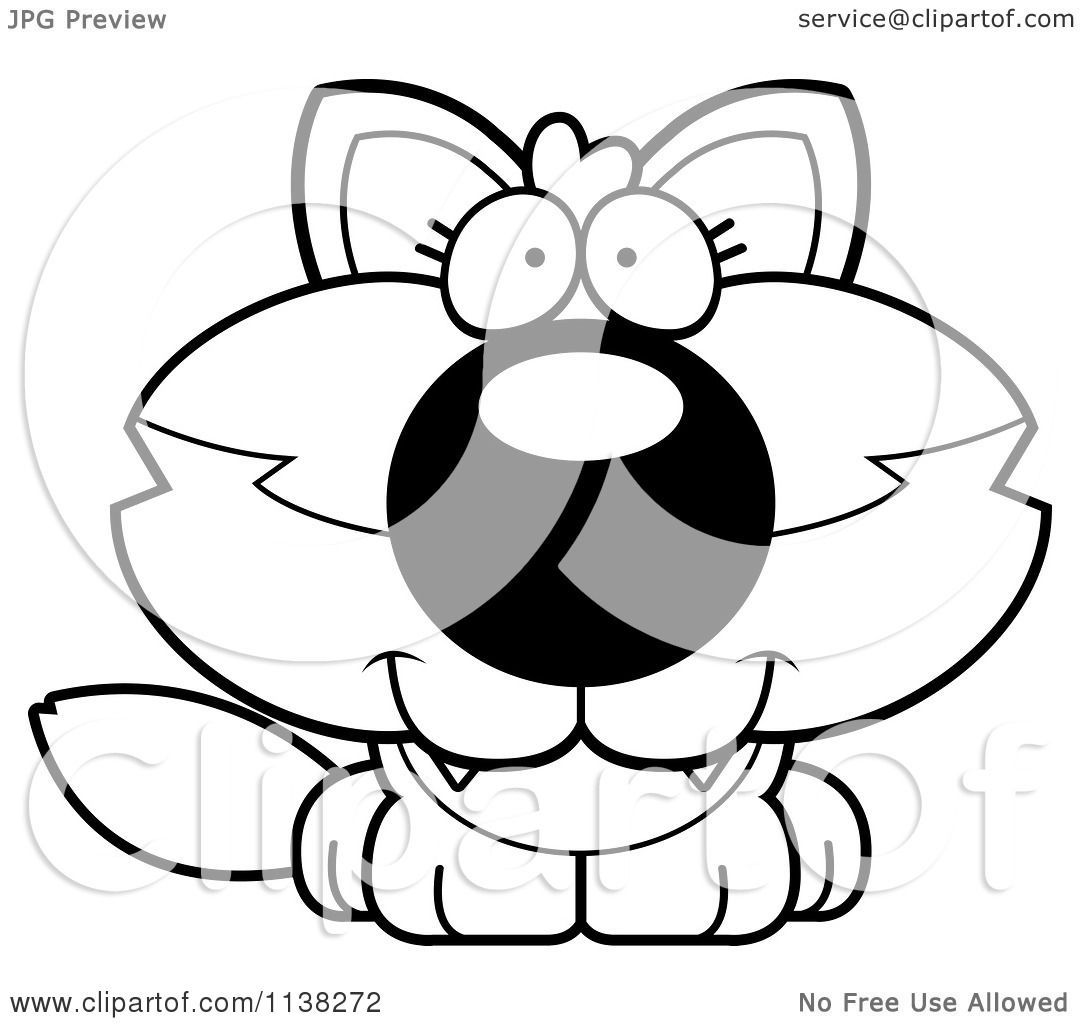 Cartoon Clipart Of An Outlined Cute Baby Wolf
