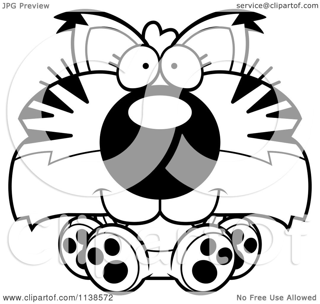 Cartoon Clipart Of An Outlined Cute Sitting Bobcat Cub