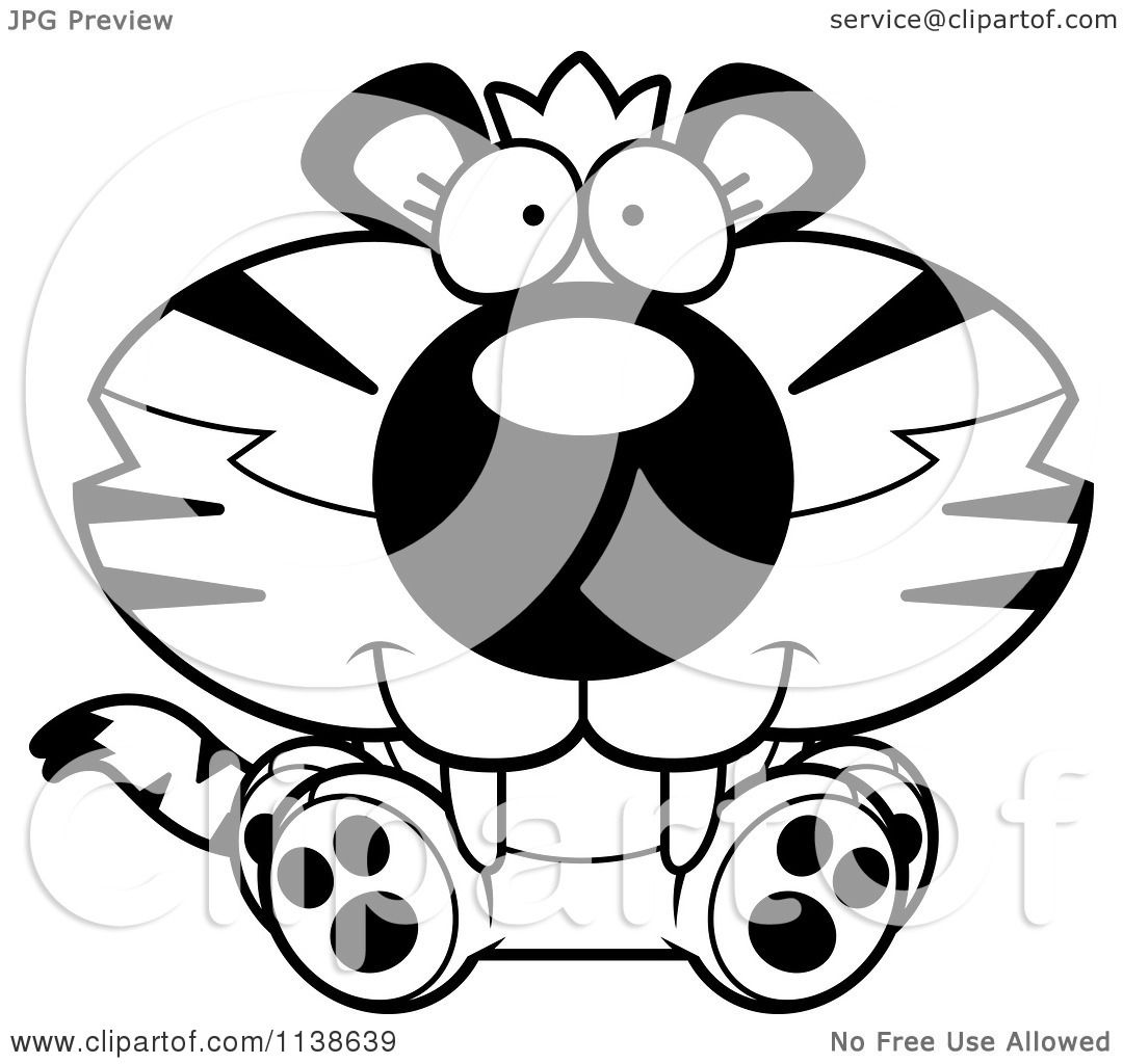 Cartoon Clipart Of An Outlined Cute Sitting Tiger Cub