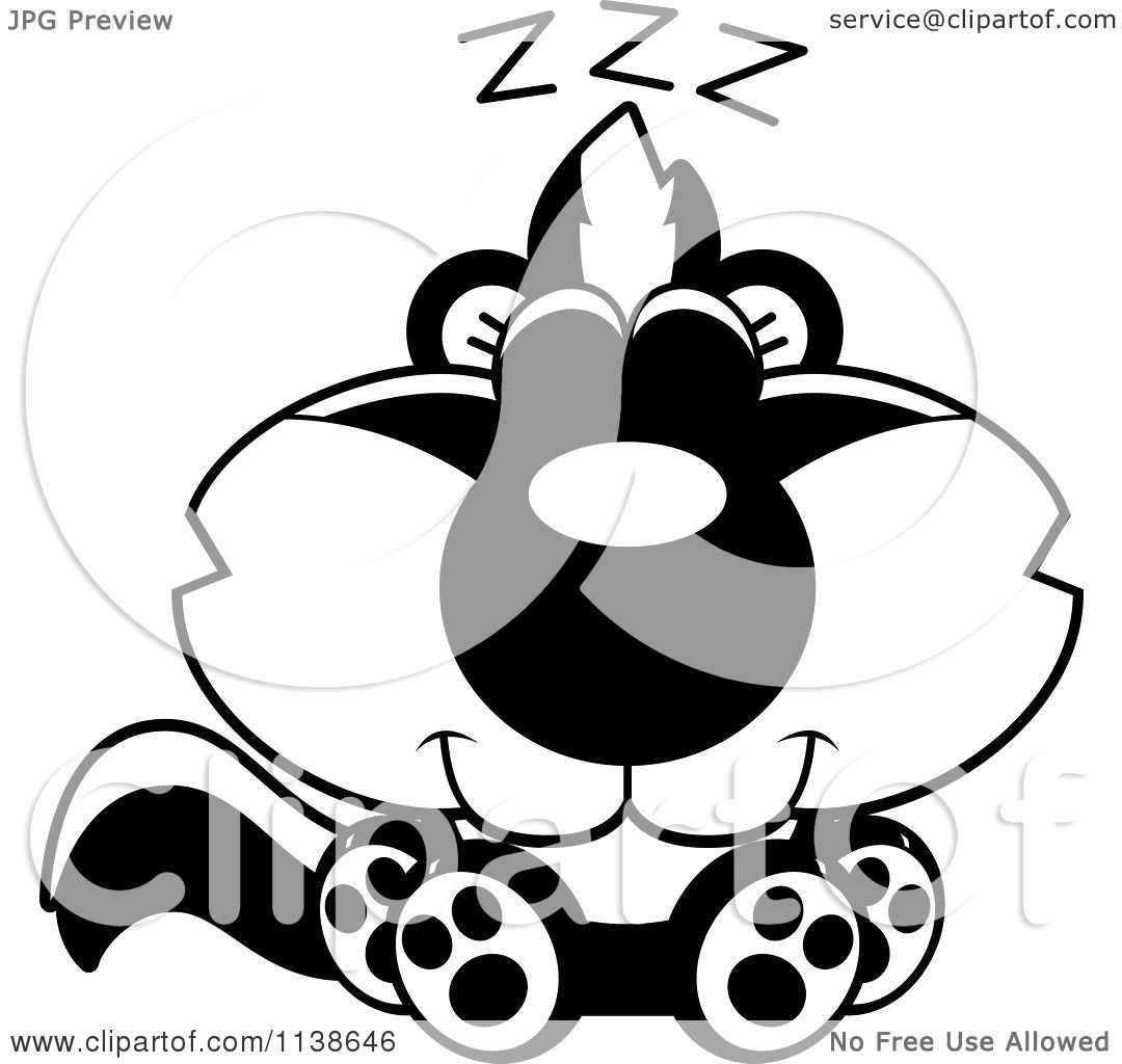 Cartoon Clipart Of An Outlined Cute Sleeping Baby Skunk