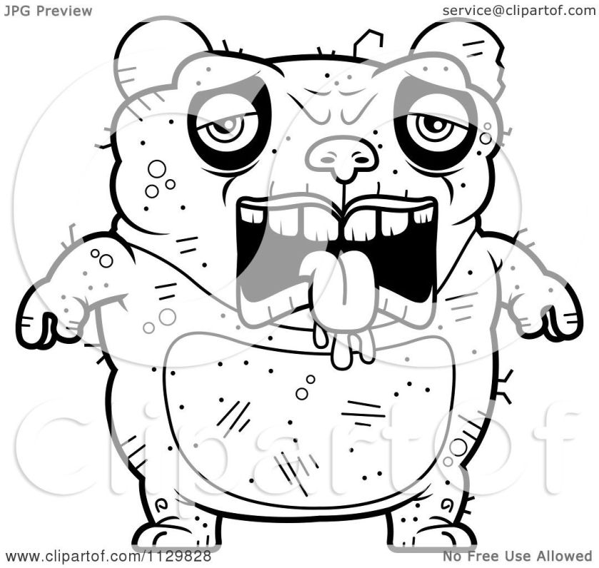 cartoon clipart of an outlined depressed ugly panda
