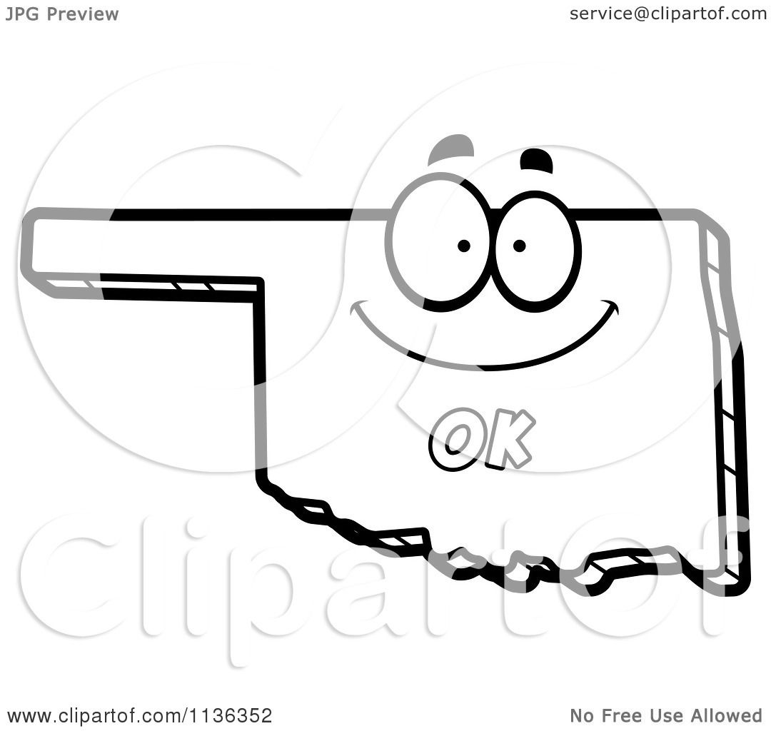 Cartoon Clipart Of An Outlined Happy Oklahoma State