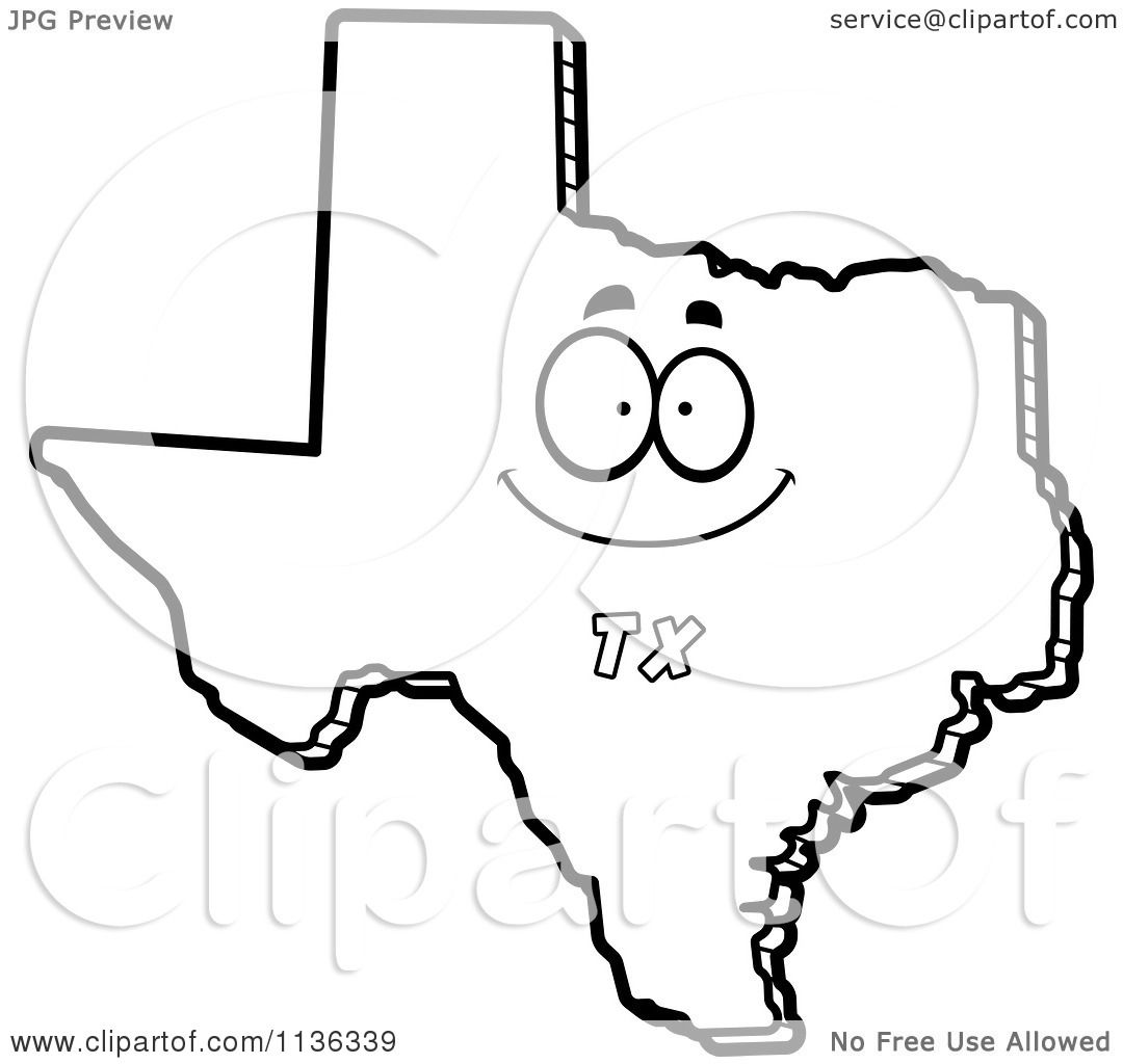 Cartoon Clipart Of An Outlined Happy Texas State Character