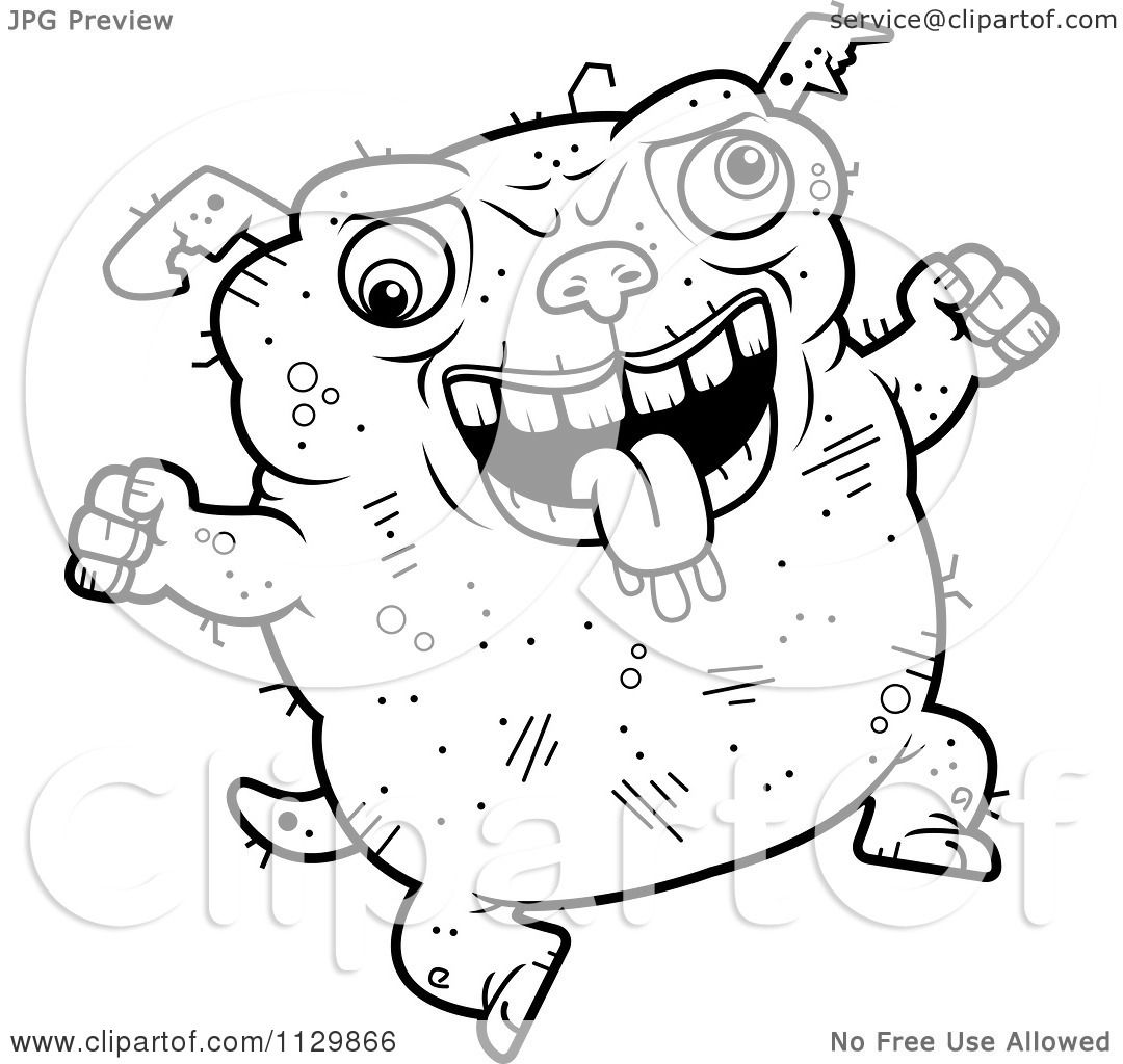 Cartoon Clipart Of An Outlined Jumping Ugly Dog