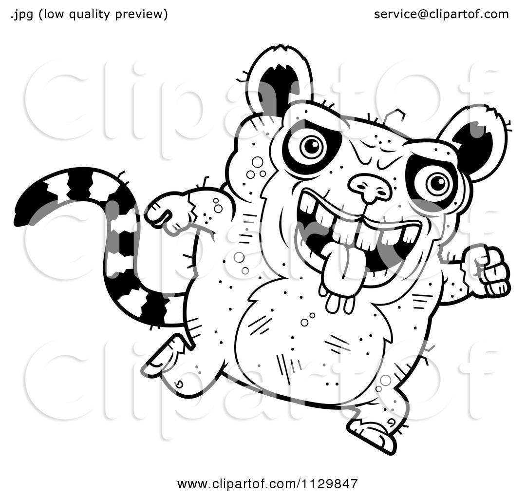 Cartoon Clipart Of An Outlined Running Ugly Lemur