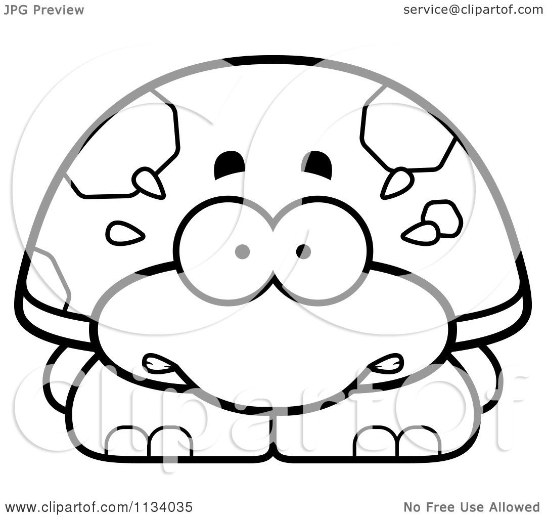Cartoon Clipart Of An Outlined Scared Tortoise Turtle