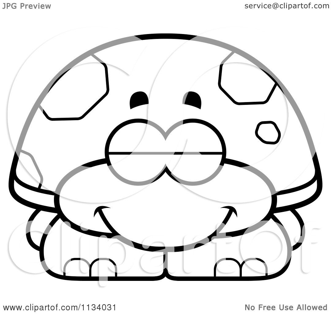 Cartoon Clipart Of An Outlined Sleeping Tortoise Turtle
