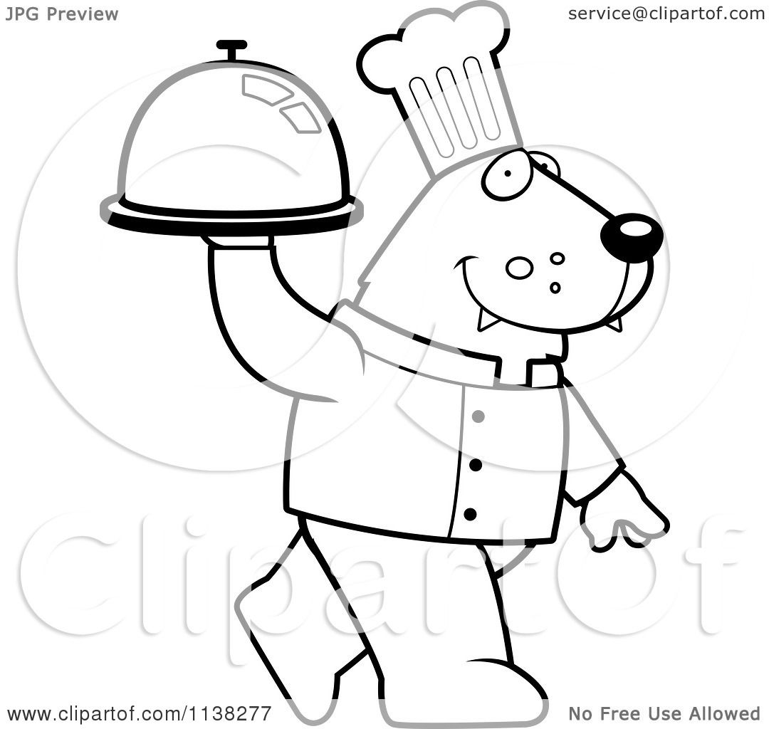 Cartoon Clipart Of An Outlined Wolf Chef Walking With A Platter