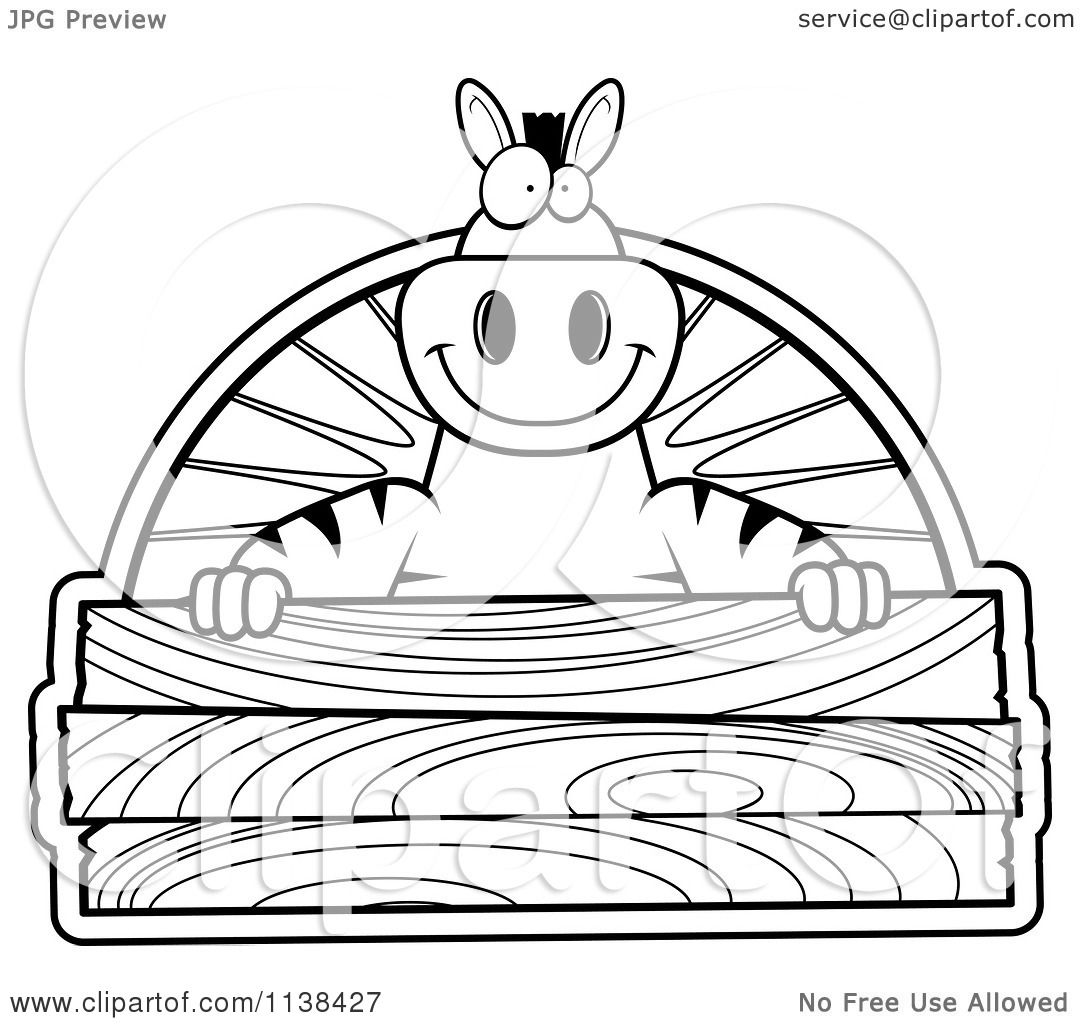 Cartoon Clipart Of An Outlined Zebra Holding A Wood Sign