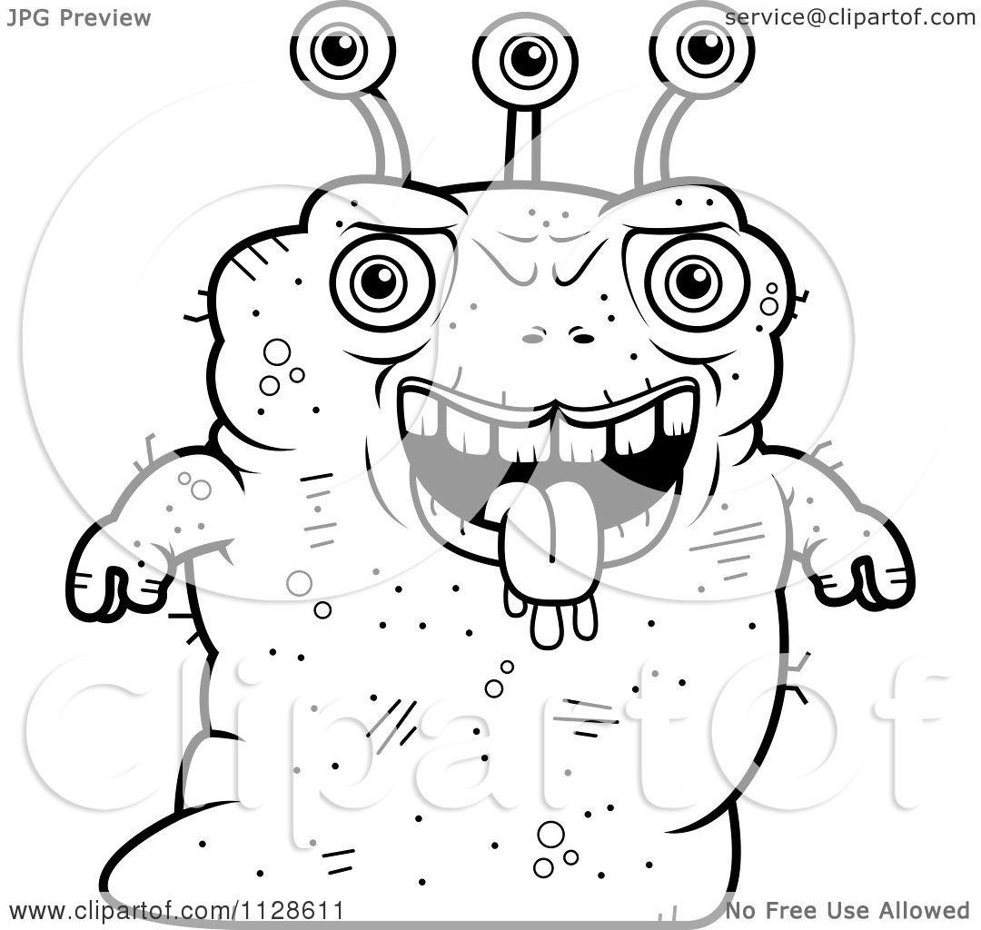 Cartoon Clipart Of An Ugly Alien