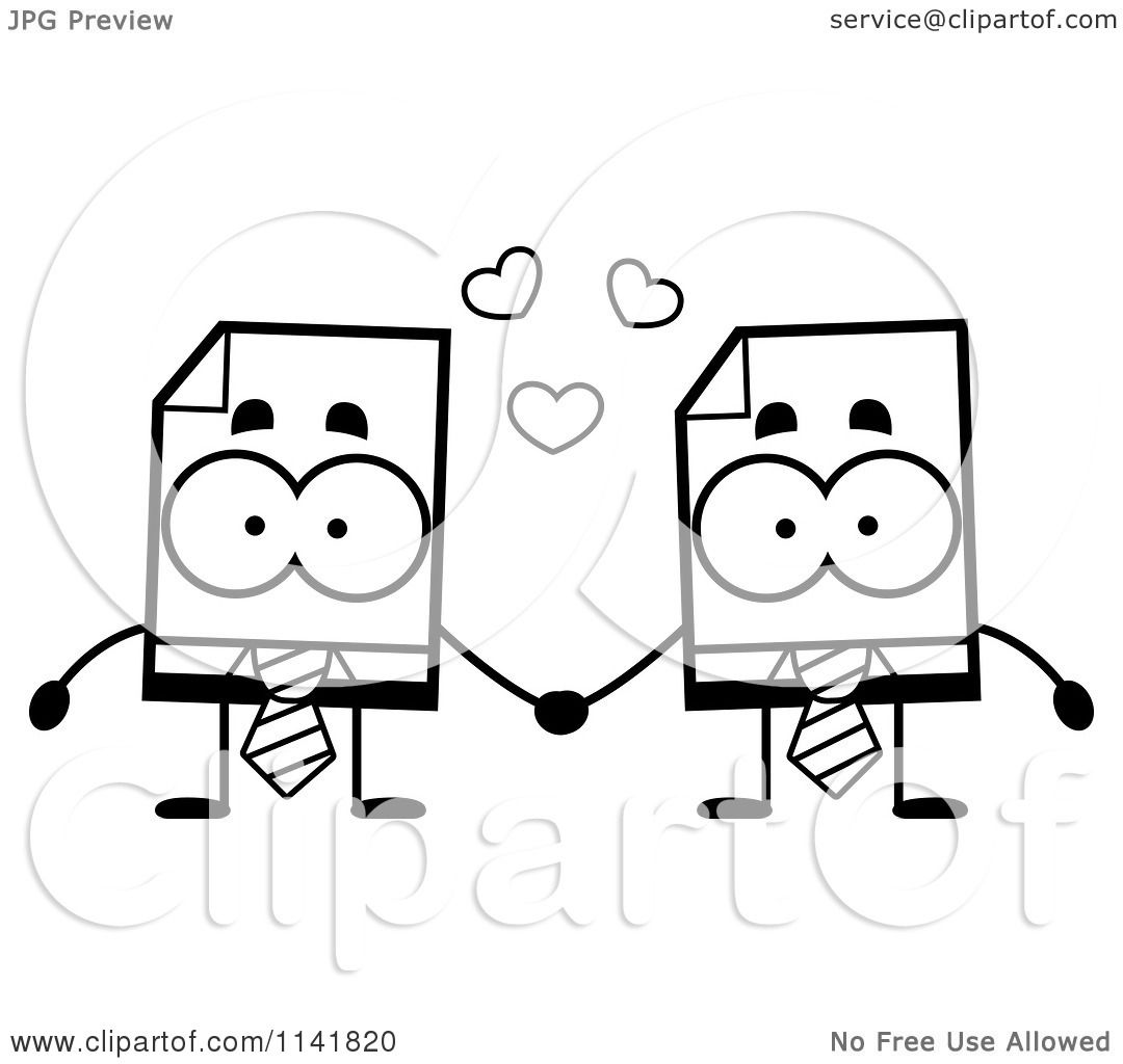 Cartoon Clipart Of Black And White Business Document Mascots Holding Hands