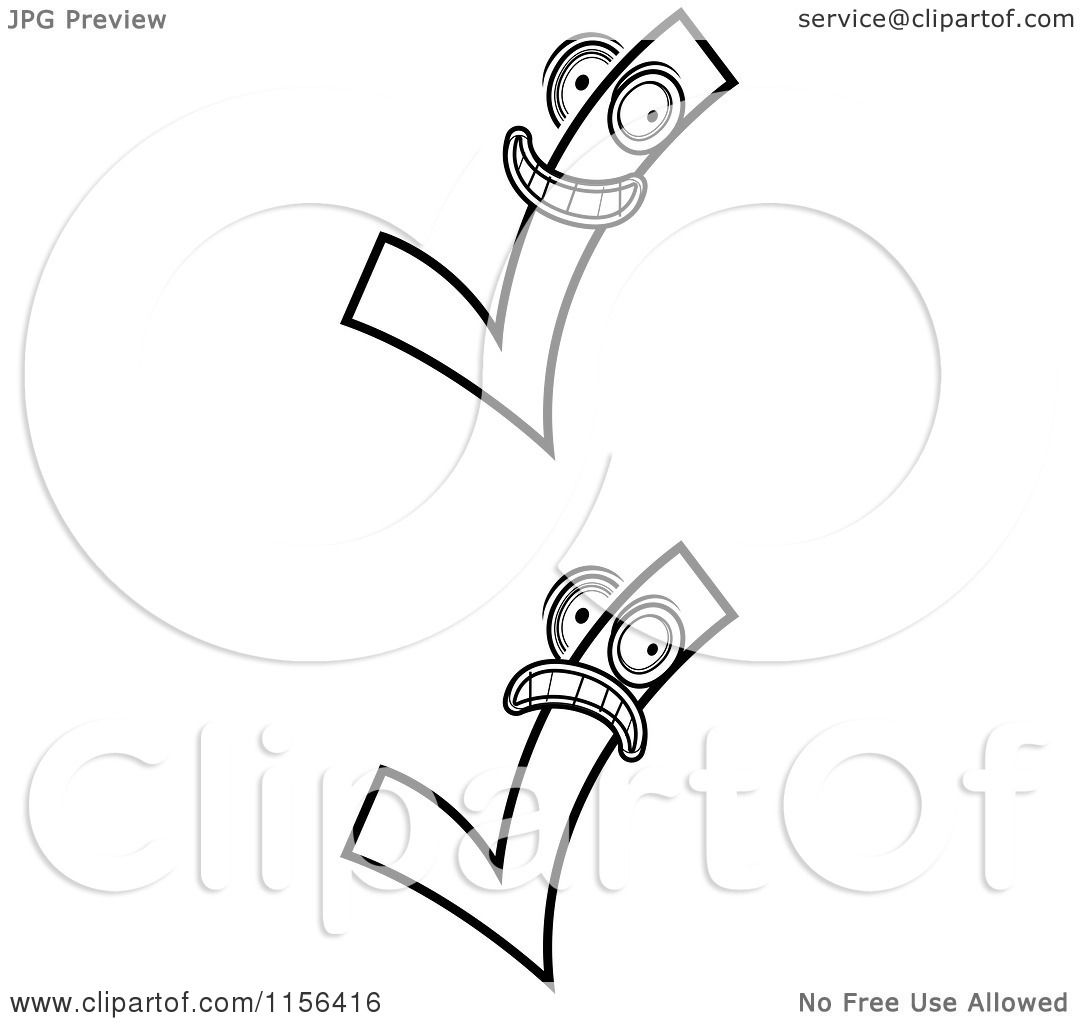 Cartoon Clipart Of Black And White Check Mark Characters