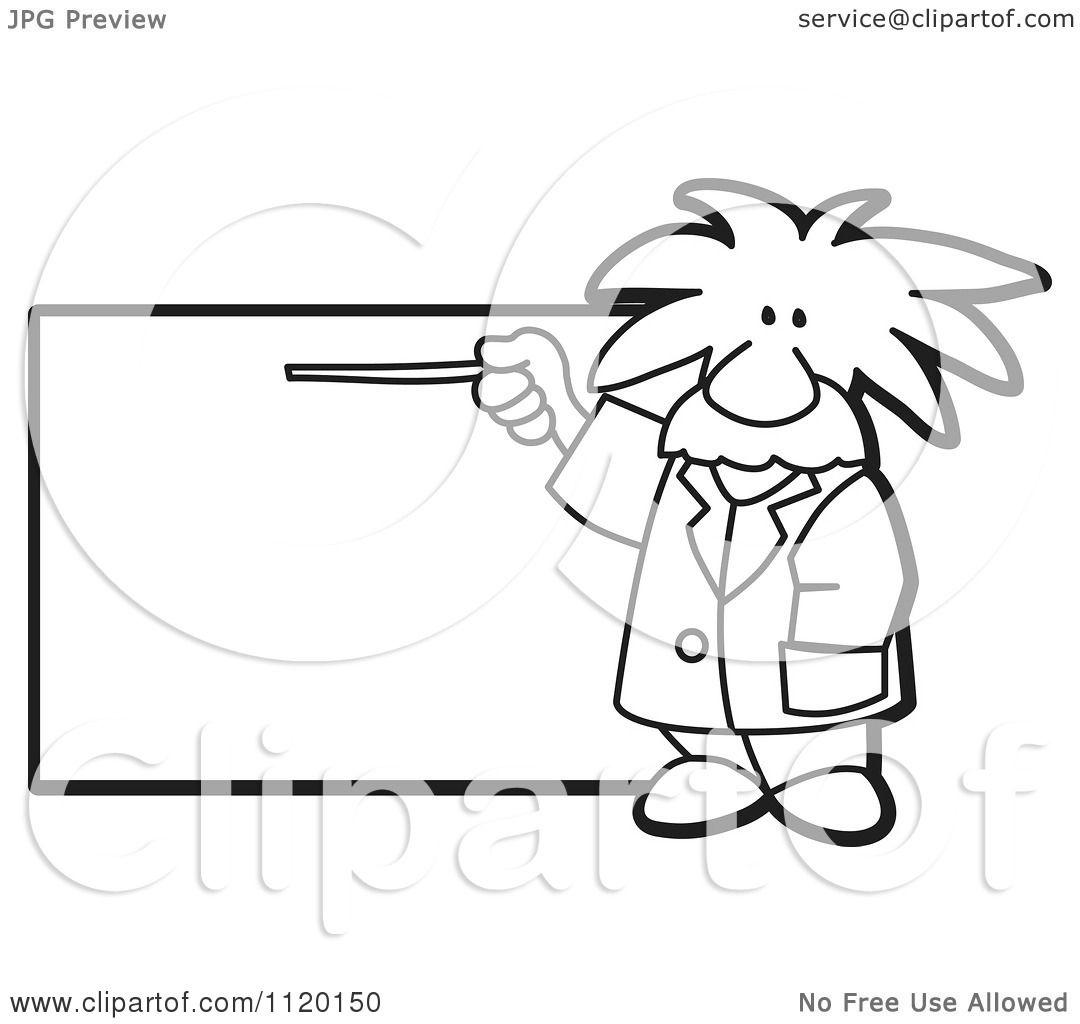 Cartoon Of A Black And White Albert Einstein Scientist