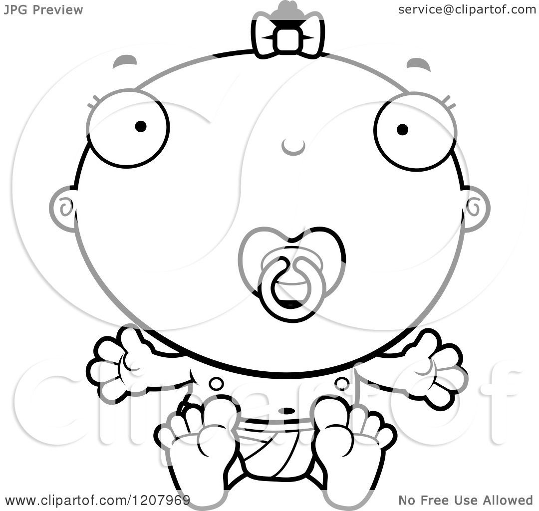 Cartoon Of A Black And White Baby Infant Black Girl With A