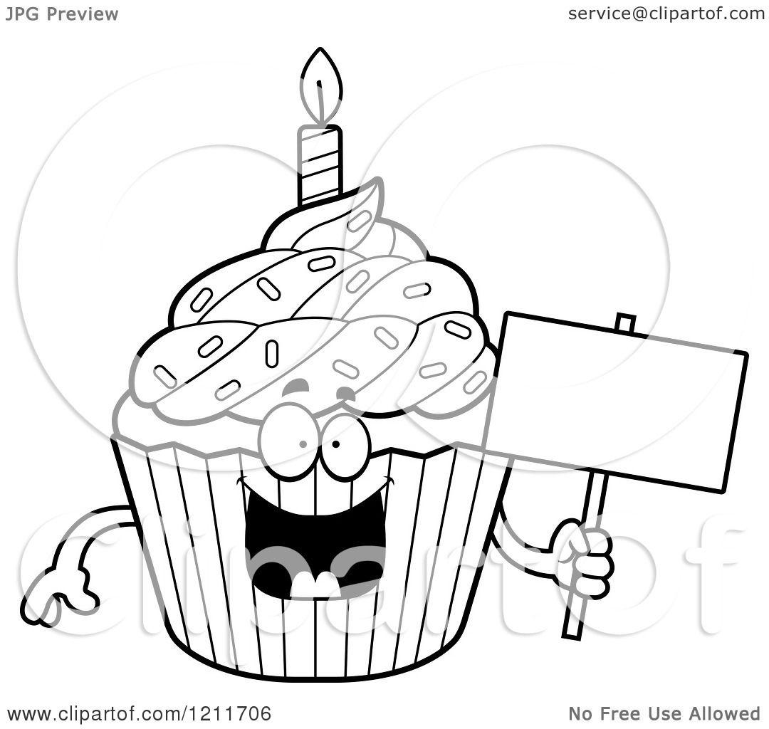 Cartoon Of A Black And White Birthday Cupcake Mascot
