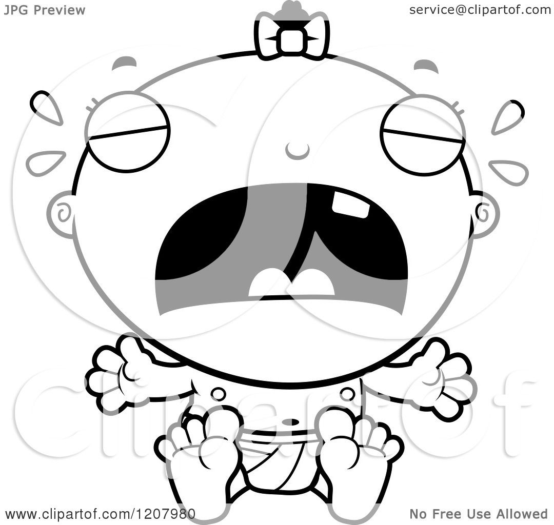 Cartoon Of A Black And White Crying Baby Infant Black Girl