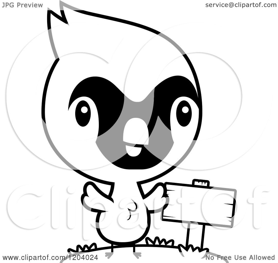 Cartoon Of A Black And White Cute Baby Cardinal Bird By A