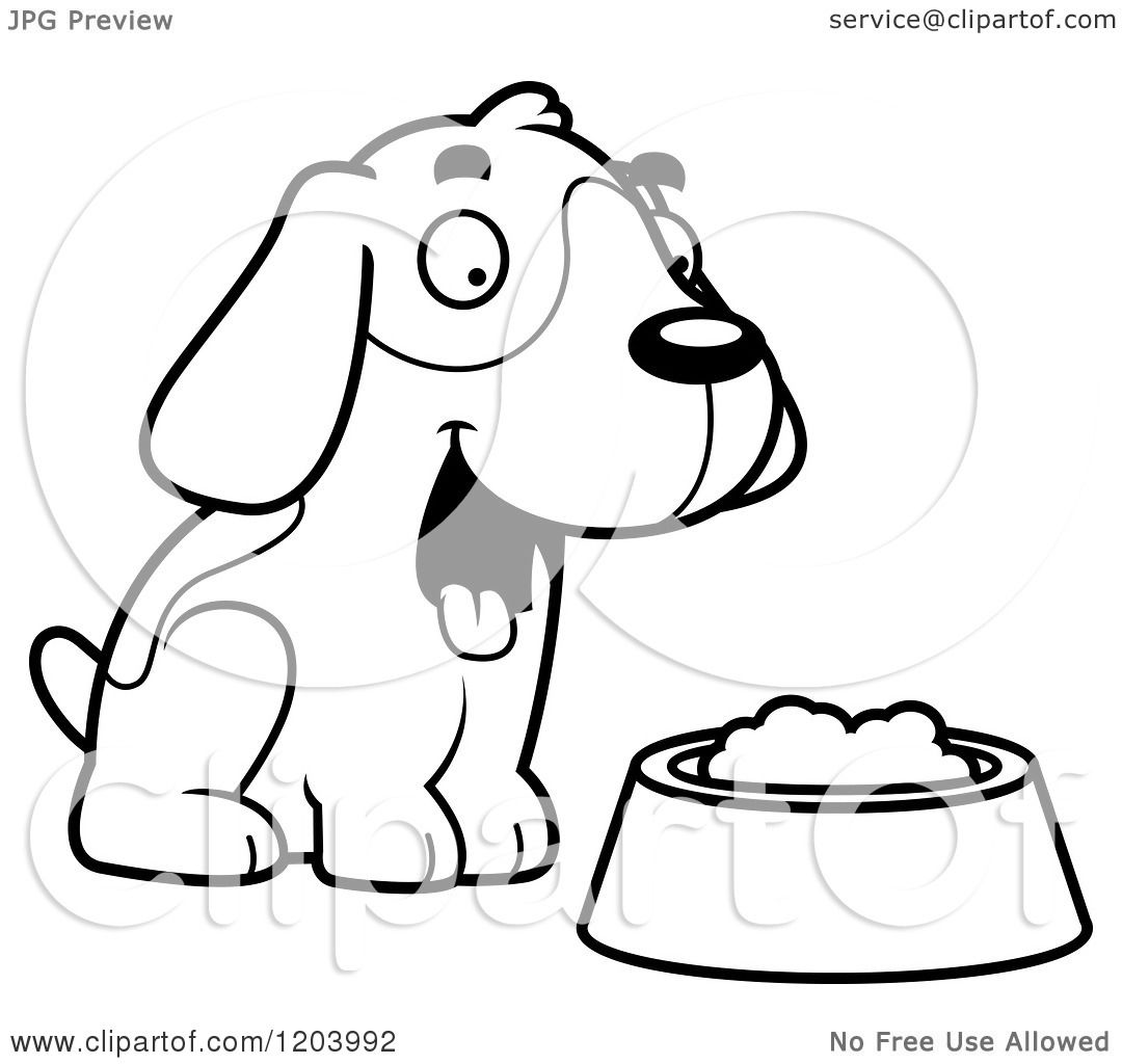 Cartoon Of A Black And White Cute Beagle Puppy With Dog