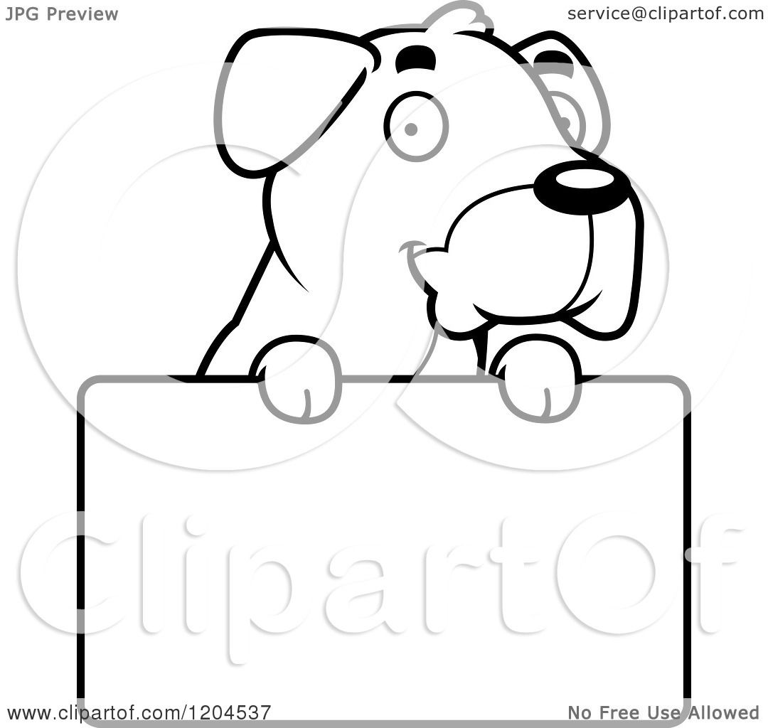 Cartoon Of A Black And White Cute Boxer Puppy Dog