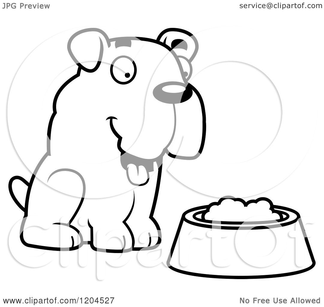 Cartoon Of A Black And White Cute Bulldog Puppy Dog And