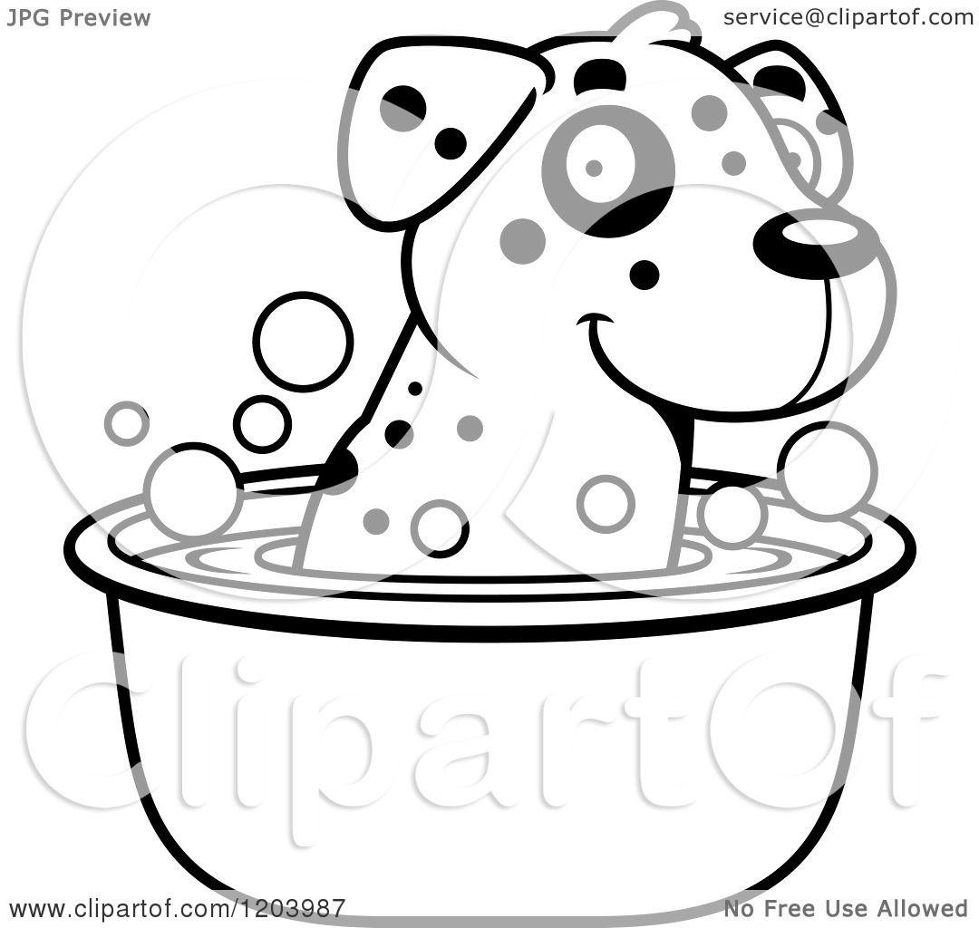 Cartoon Of A Black And White Cute Dalmatian Puppy Taking A Bath