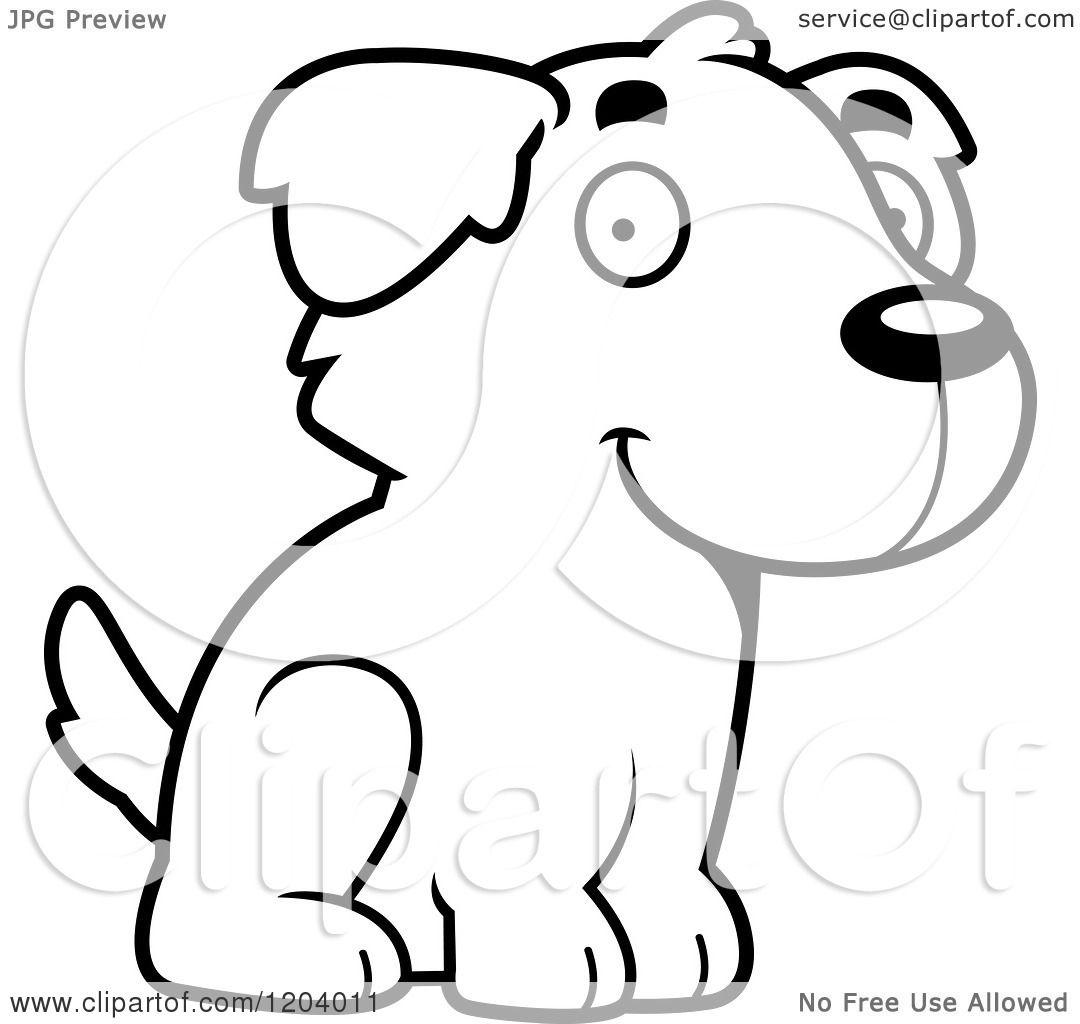Cartoon Of A Black And White Cute Golden Retriever Puppy