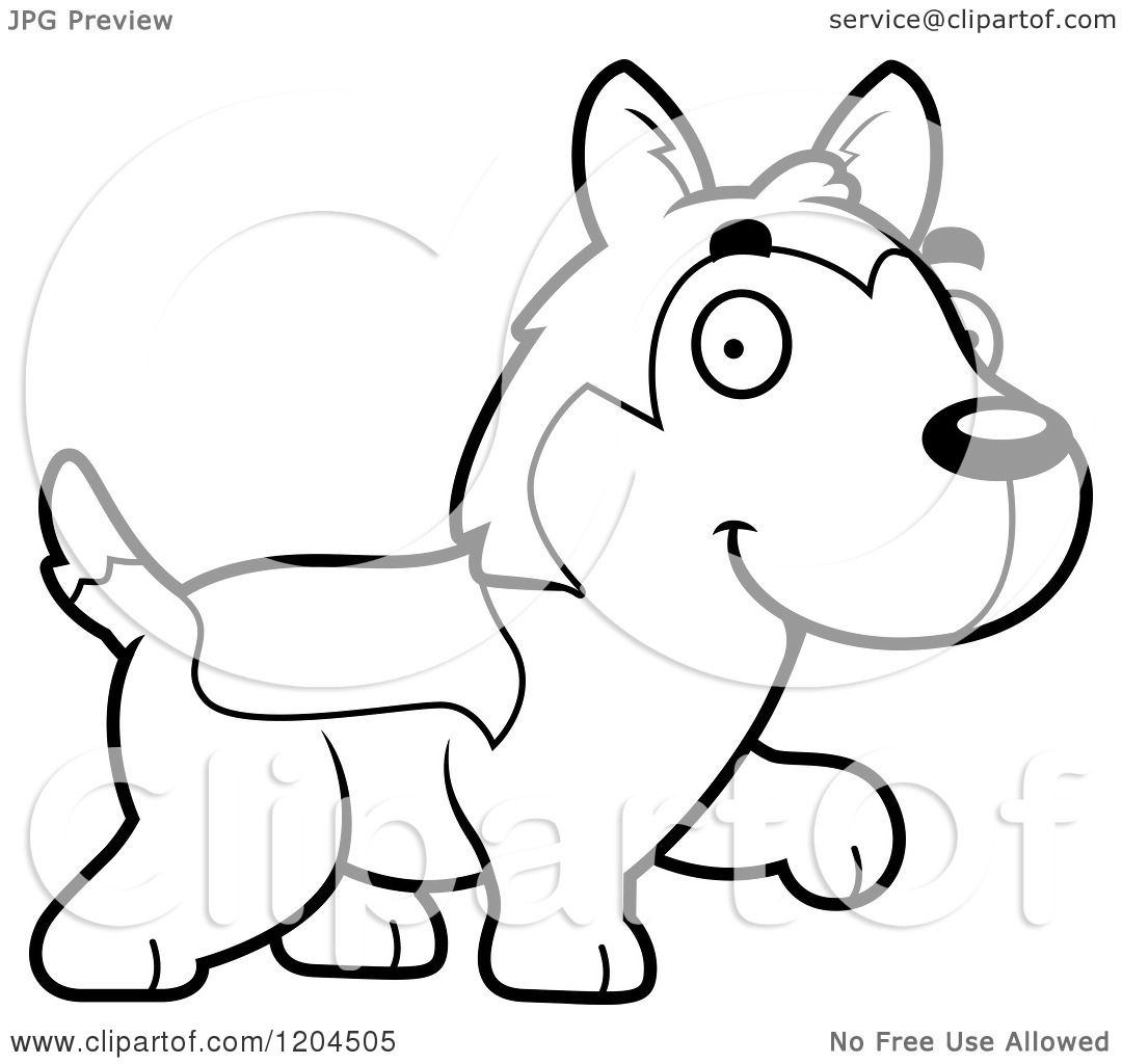 Cartoon Of A Black And White Cute Husky Puppy Dog Walking