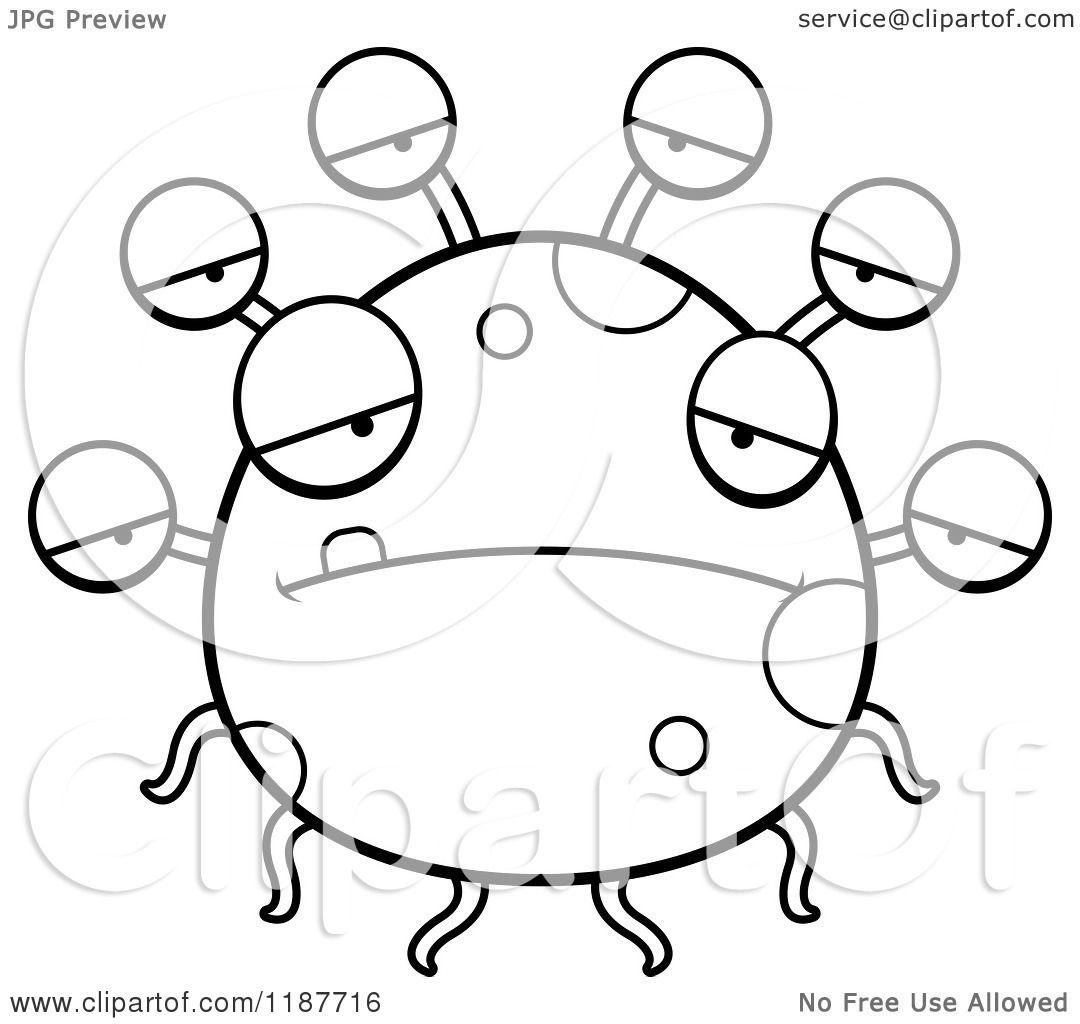 Cartoon Of A Black And White Depressed Eyeball Monster
