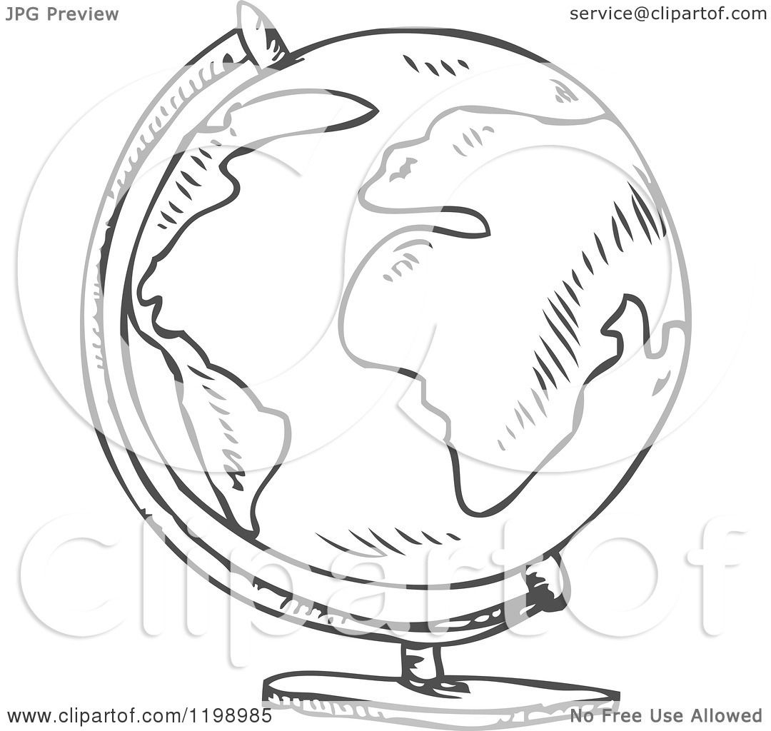 Cartoon Of A Black And White Desk Globe Doodle Sketch