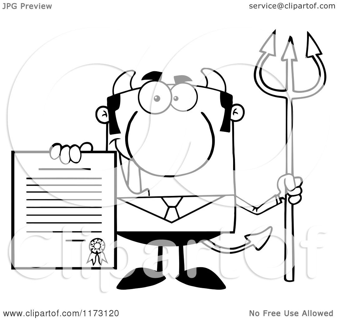 Cartoon Of A Black And White Devil Businessman Holding A