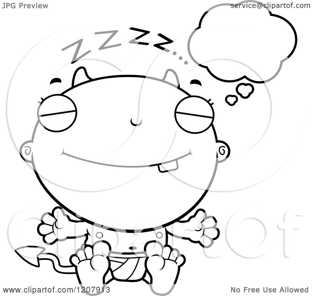 Cartoon Of A Black And White Dreaming Devil Infant Baby
