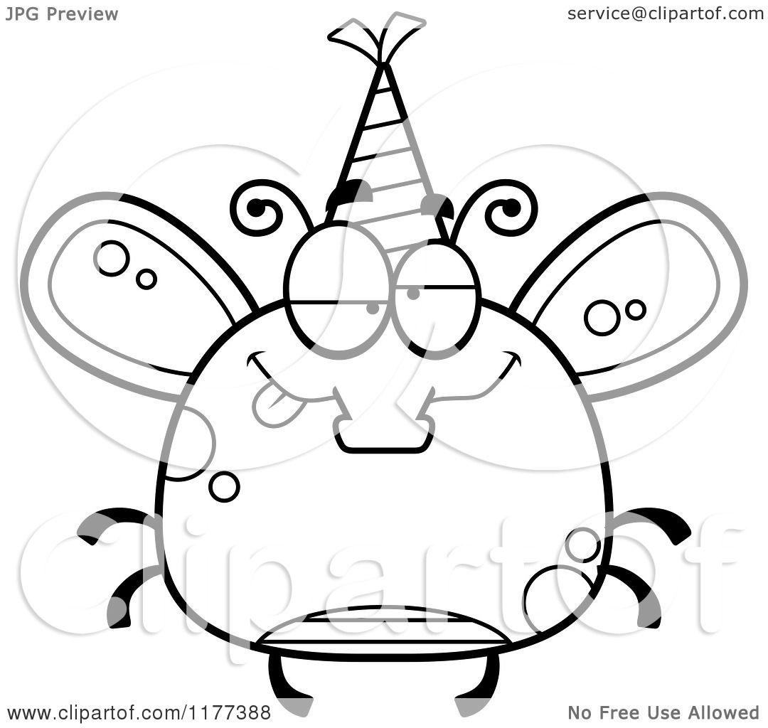 Cartoon Of A Black And White Drunk Birthday Fly Wearing A