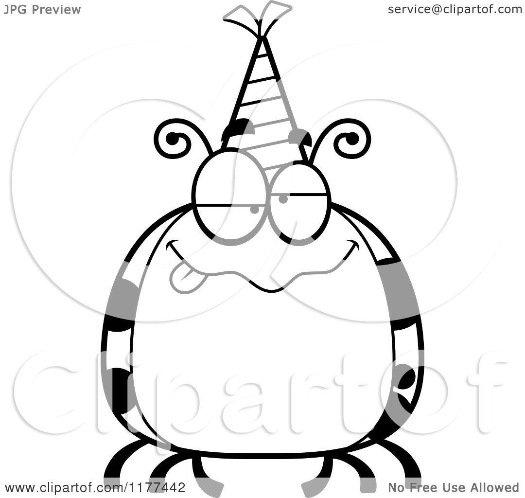 Cartoon Of A Black And White Drunk Birthday Ladybug