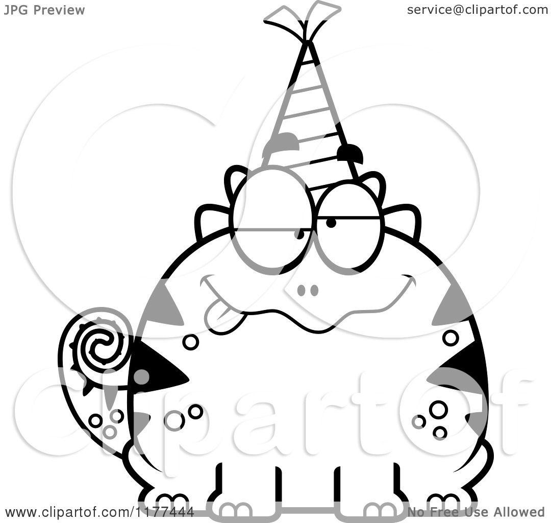 Cartoon Of A Black And White Drunk Birthday Lizard Wearing