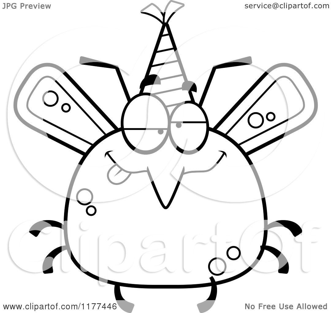 Cartoon Of A Black And White Drunk Birthday Mosquito