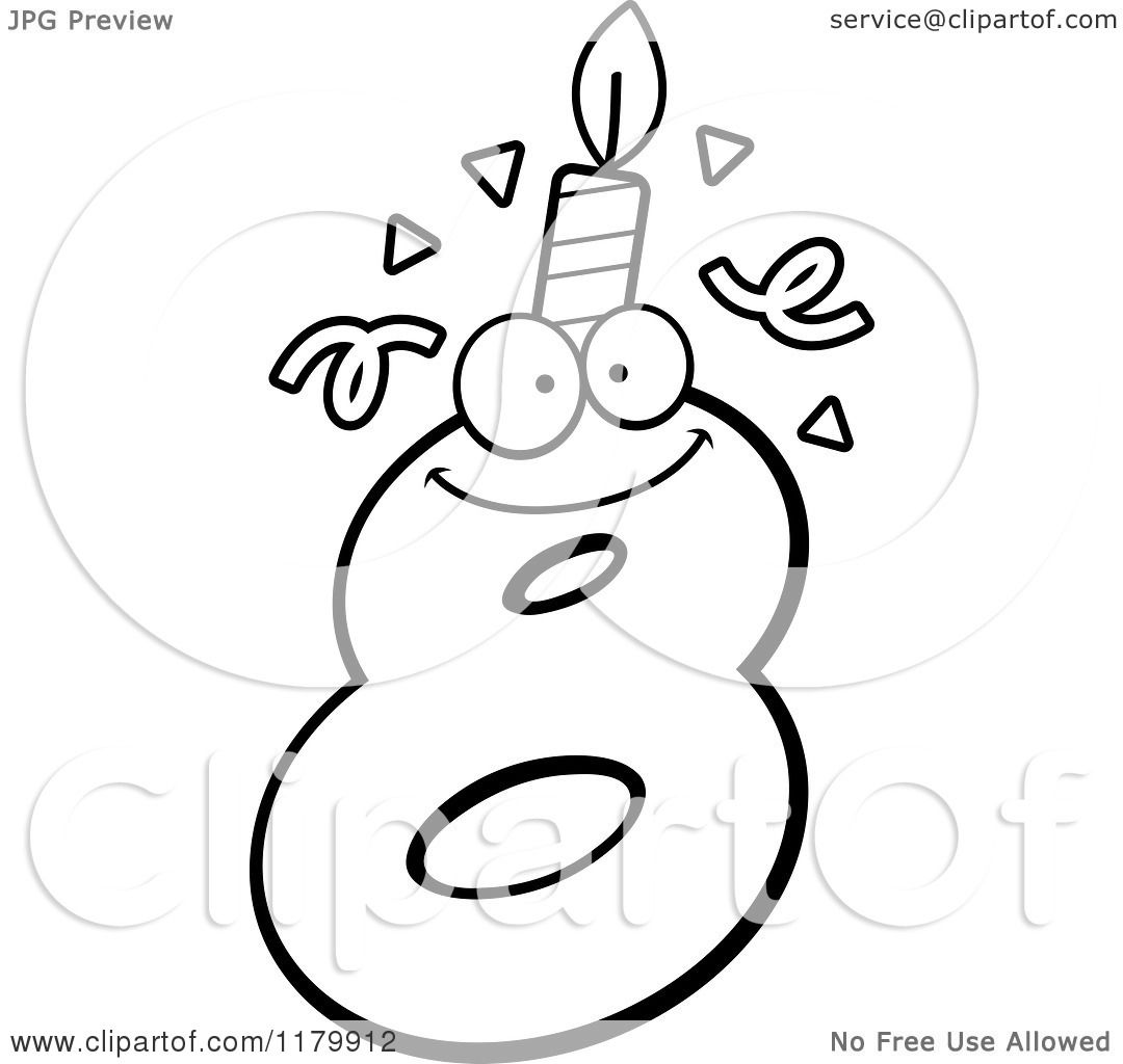 Cartoon Of A Black And White Eight Birthday Candle Mascot