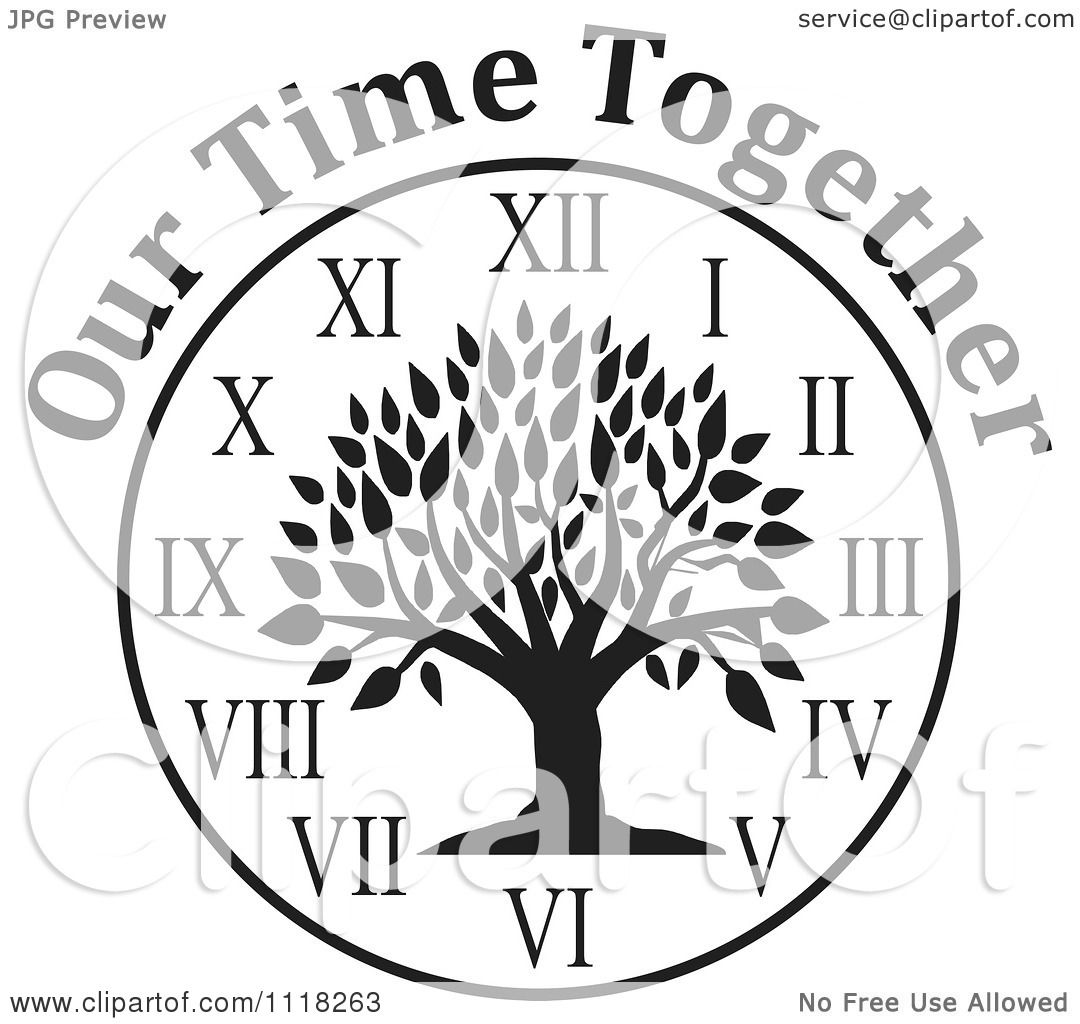 Cartoon Of A Black And White Family Reunion Tree Clock