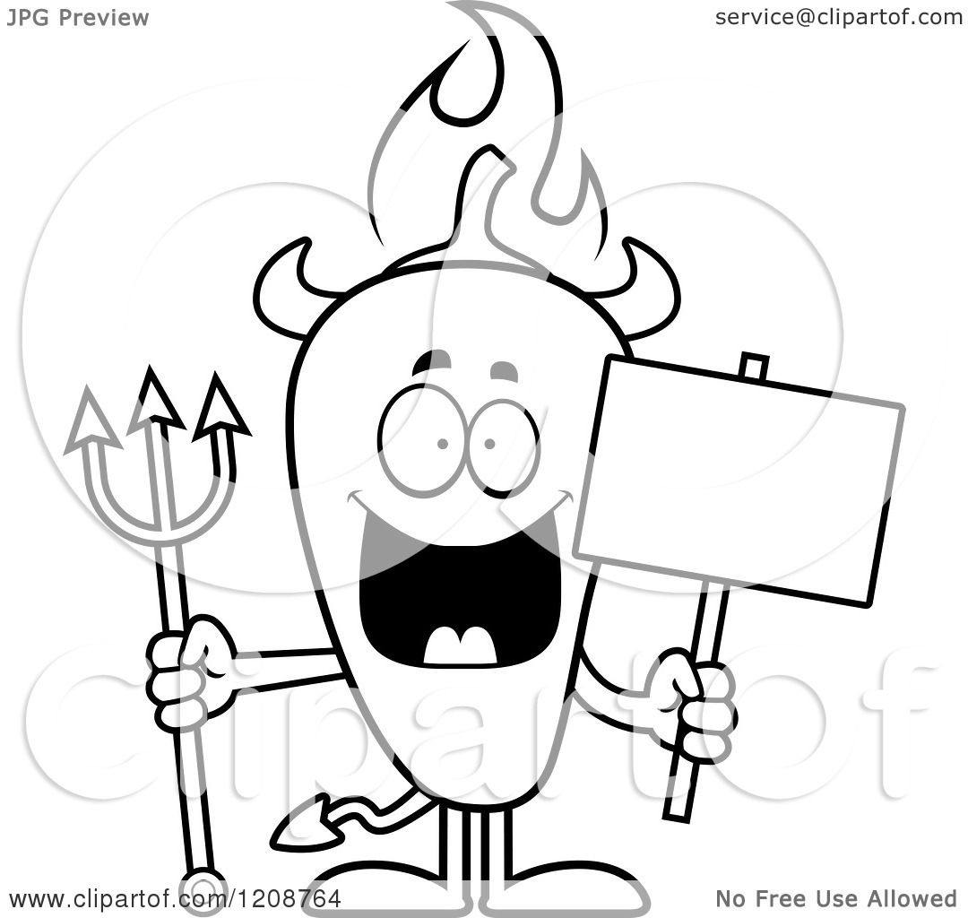 Cartoon Of A Black And White Flaming Chili Pepper Devil