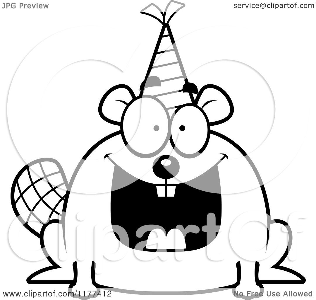Cartoon Of A Black And White Happy Birthday Beaver Wearing