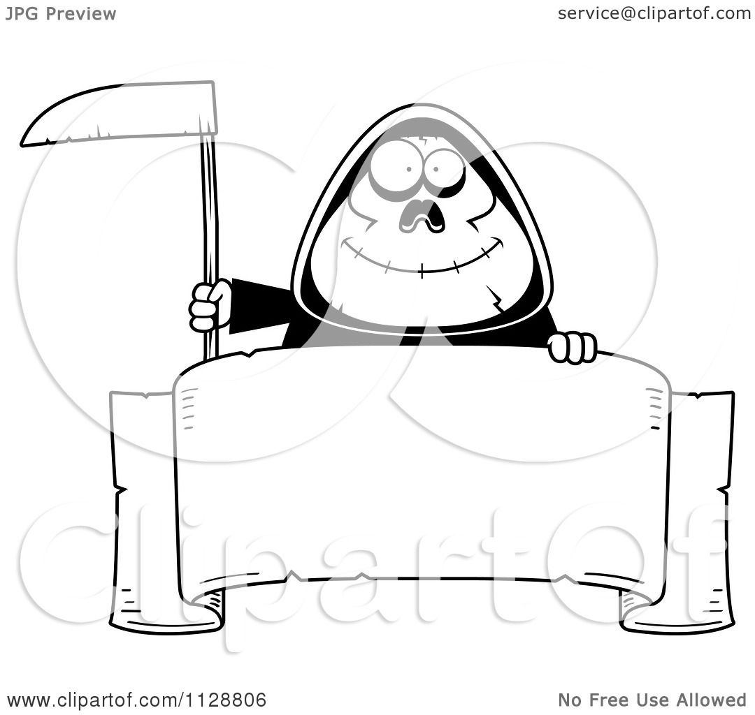 Cartoon Of A Black And White Happy Chubby Grim Reaper With