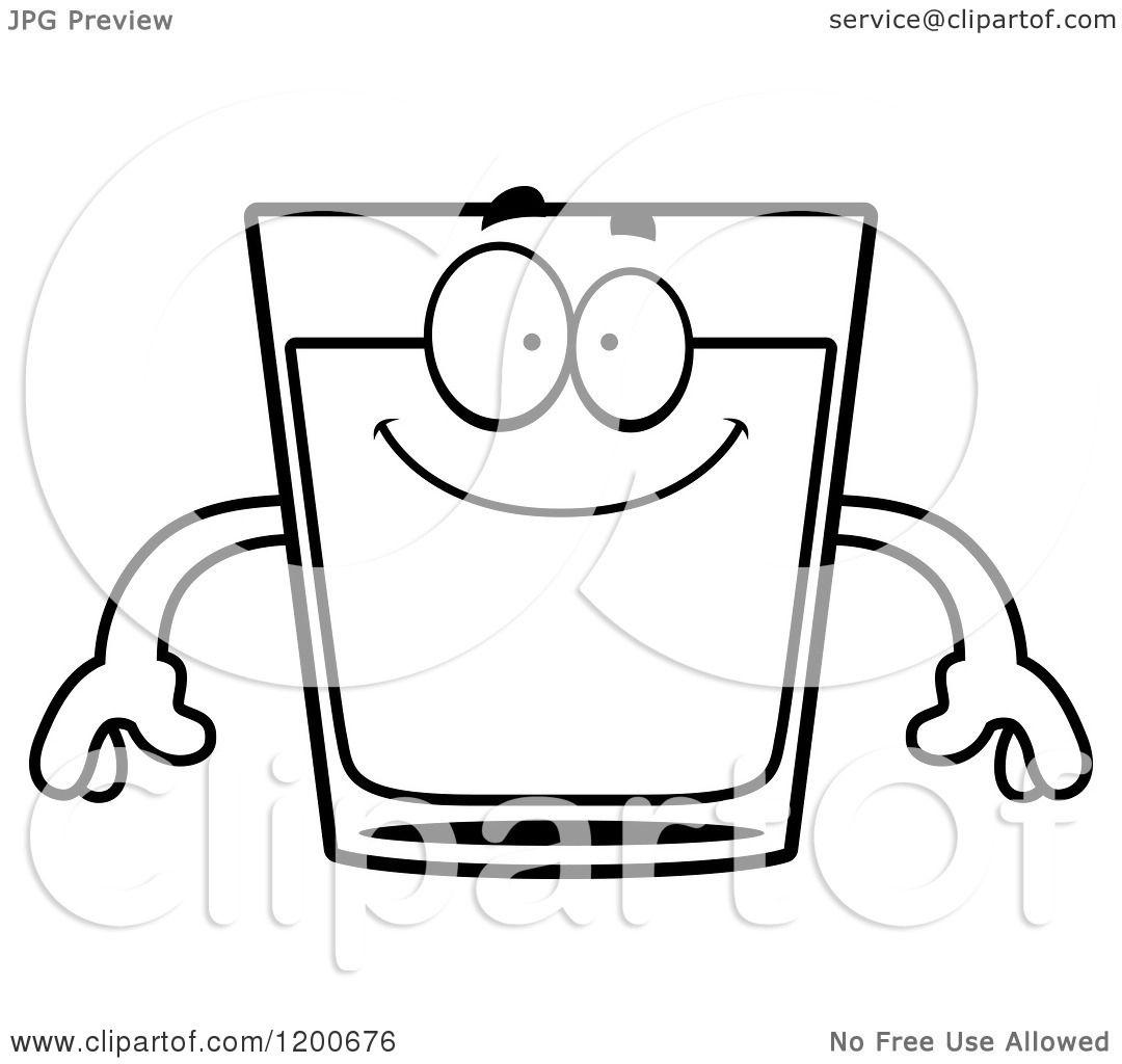 Cartoon Of A Black And White Happy Shot Glass Mascot
