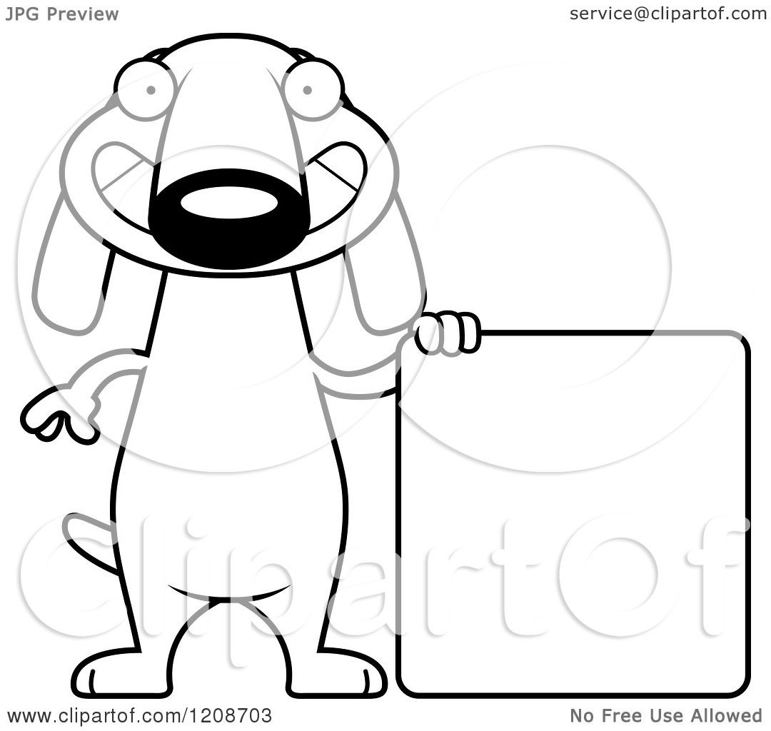 Cartoon Of A Black And White Happy Skinny Dachshund Dog