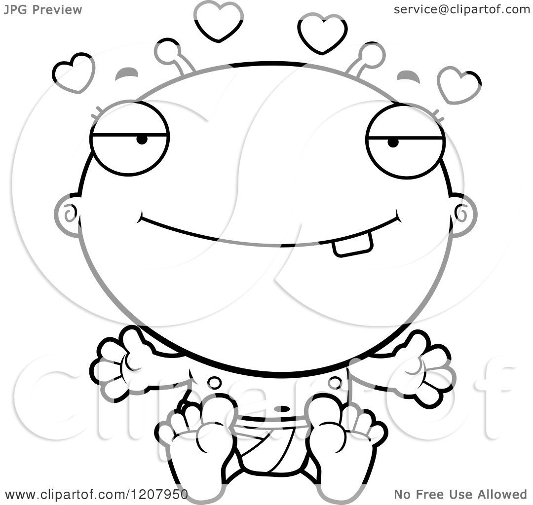 Cartoon Of A Black And White Loving Alien Infant Baby