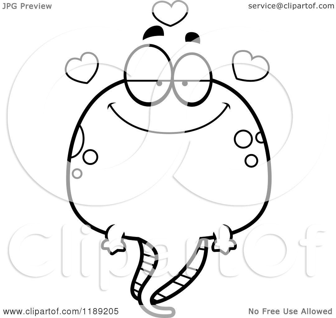 Cartoon Of A Black And White Loving Tadpole Mascot