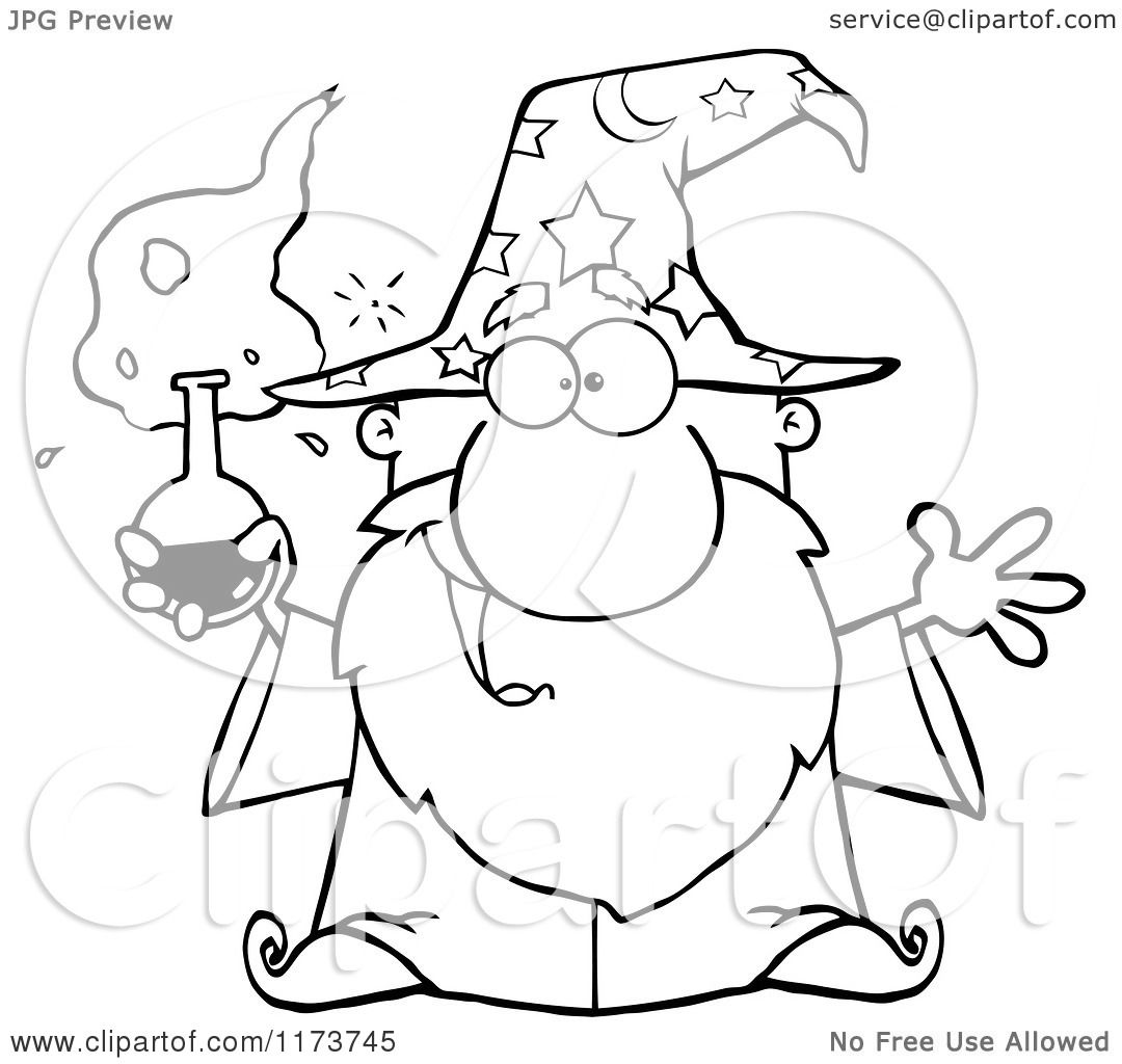 Cartoon Of A Black And White Old Wizard Man Holding A