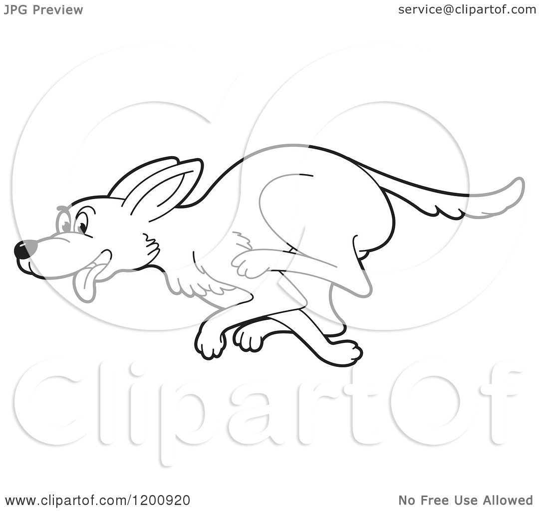 Cartoon Of A Black And White Outlined Running Dog