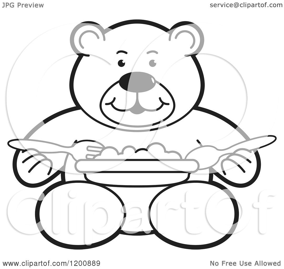 Cartoon Of A Black And White Outlined Teddy Bear Eating A