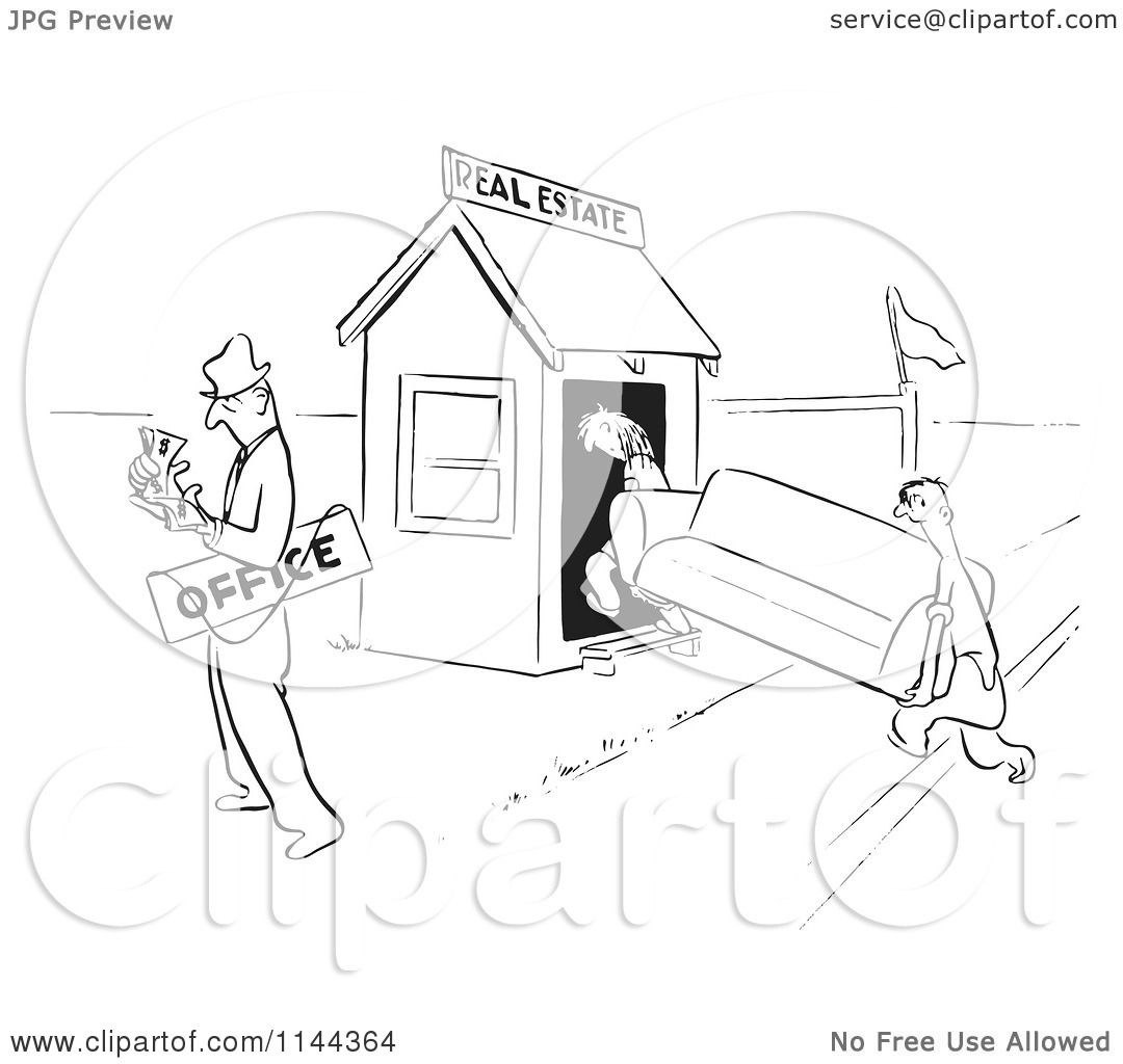 Cartoon Of A Black And White Real Estate Agent Couting Cash After Selling His Office To Clients