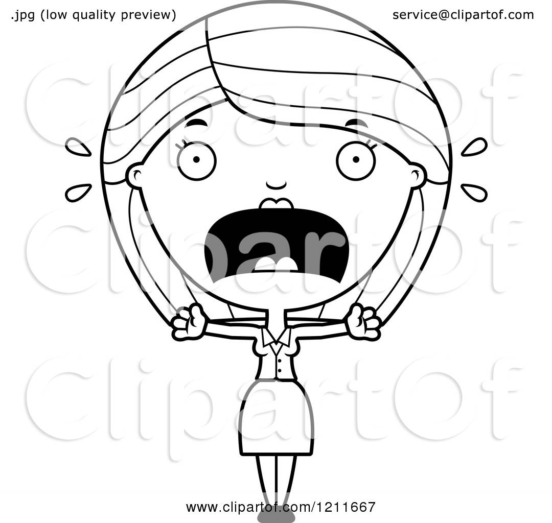 Cartoon Of A Black And White Scared Business Woman