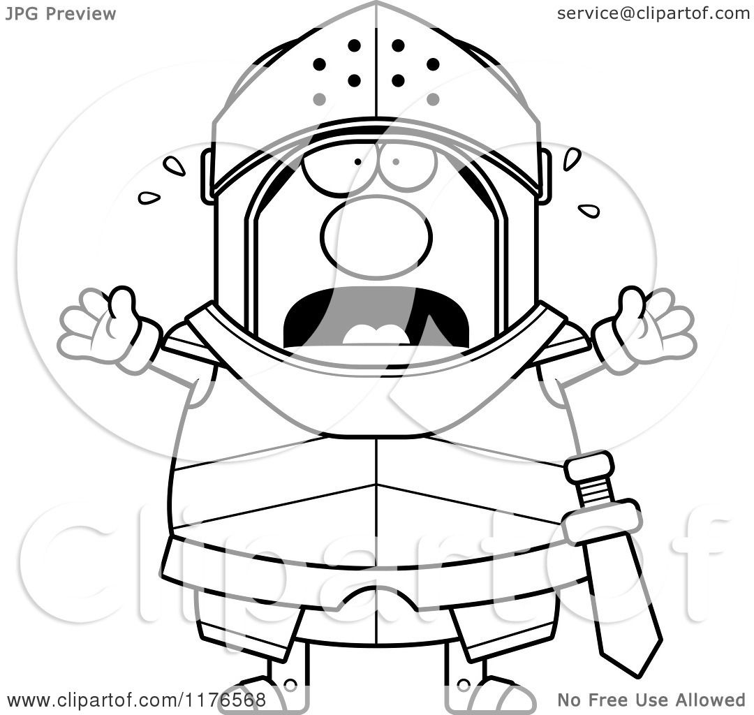 Cartoon Of A Black And White Screaming Armoured Knight